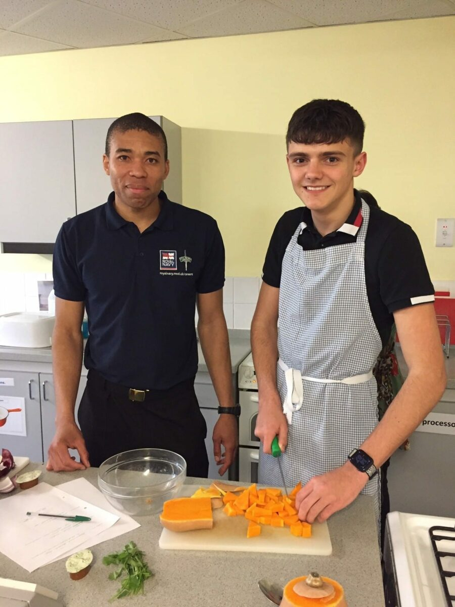 Year 13 take part in Royal Navy's 'ready, steady, cook' challenge